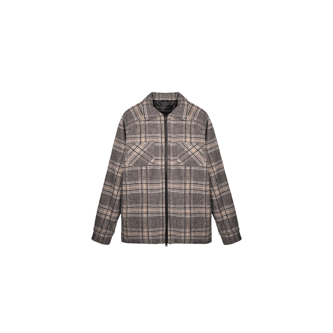 LINED ZIPPER FLANNEL - GREY/YELLOW