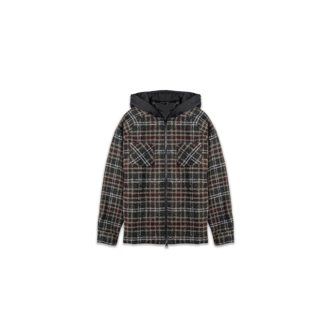 FLANNEL HOODED JACKET - TAN