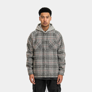 HOODED FLANNEL JACKET - GREY