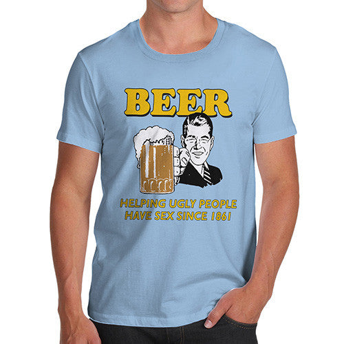Men's Beer Helping Ugly People Funny T-Shirt