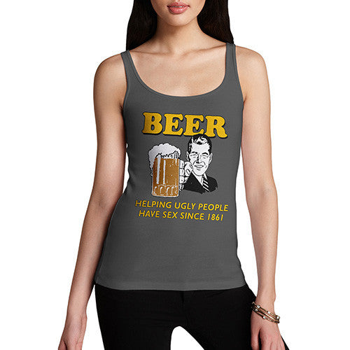 Women's Beer Helping Ugly People Funny Tank Top