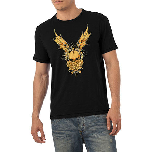 Mens Gothic Winged Skull Graphic T-Shirt