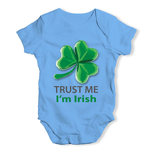 Baby Boy Clothes Trust Me I'm Irish Baby Unisex Baby Grow Bodysuit 12-18 Months Blue