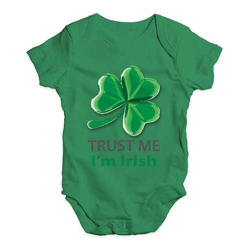 Funny Infant Baby Bodysuit Trust Me I'm Irish Baby Unisex Baby Grow Bodysuit 12-18 Months Green