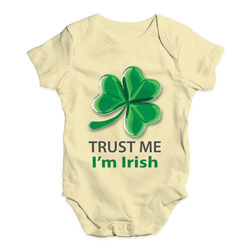 Funny Infant Baby Bodysuit Trust Me I'm Irish Baby Unisex Baby Grow Bodysuit 6-12 Months Lemon