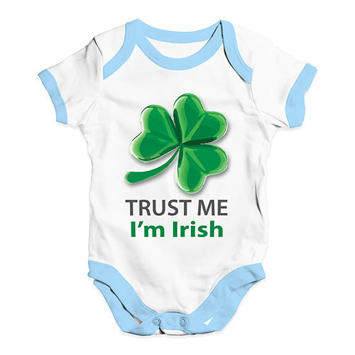 Funny Infant Baby Bodysuit Onesies Trust Me I'm Irish Baby Unisex Baby Grow Bodysuit 18-24 Months White Blue Trim