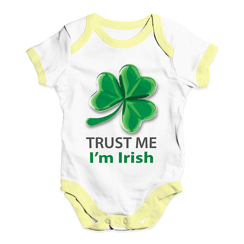 Baby Boy Clothes Trust Me I'm Irish Baby Unisex Baby Grow Bodysuit Newborn White Yellow Trim