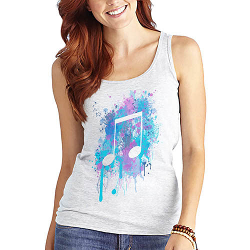 Women's Musical Note Printed Graphic Tank Top
