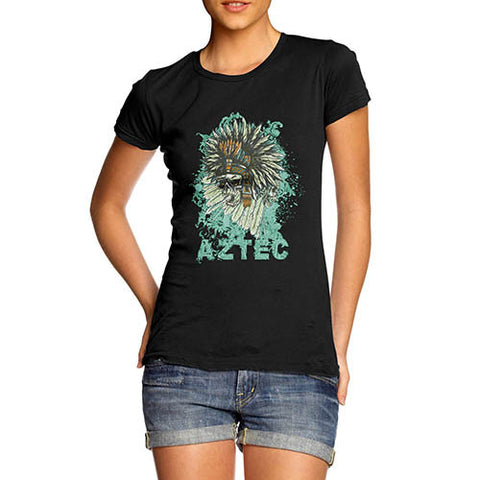 Womens Distressed Print Aztec Red Indian Skull T-Shirt