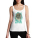 Womens Distressed Print Aztec Red Indian Skull Tank Top
