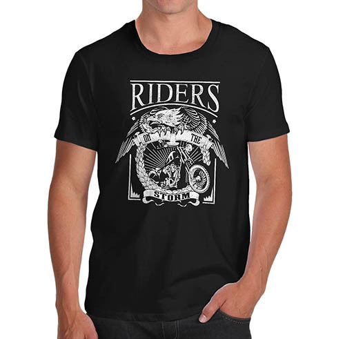 Mens Biker Print Riders on the Storm T-Shirt