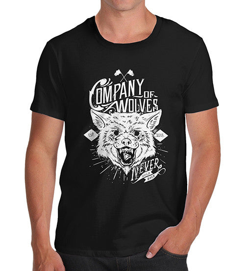 Mens Distress Print Company Of Wolves T-Shirt