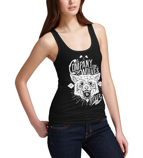 Womens Distress Print Company Of Wolves Tank Top