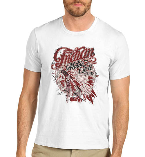 Mens Distressed American Bike Indian Motorcycle Club T-Shirt