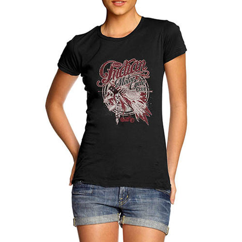 Womens Distressed American Bike Indian Motorcycle Club T-Shirt