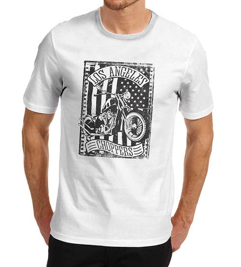 Mens Biker Distress Print Design Los Angeles Choppers T-Shirt