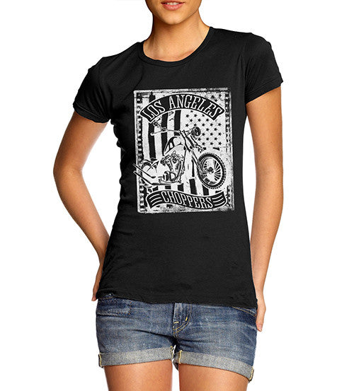 Womens Biker Distress Print Design Los Angeles Choppers T-Shirt