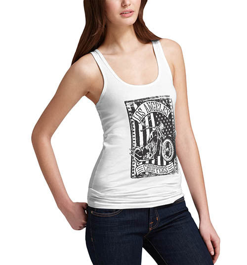 Womens Biker Distress Print Design Los Angeles Choppers Tank Top