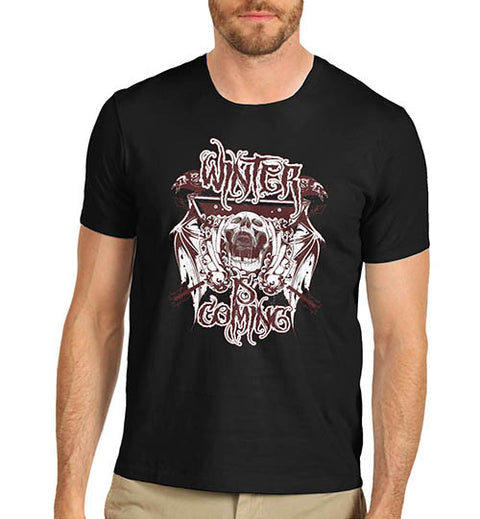 Mens Gothic Skull Distress Print Winter Is Coming T-Shirt