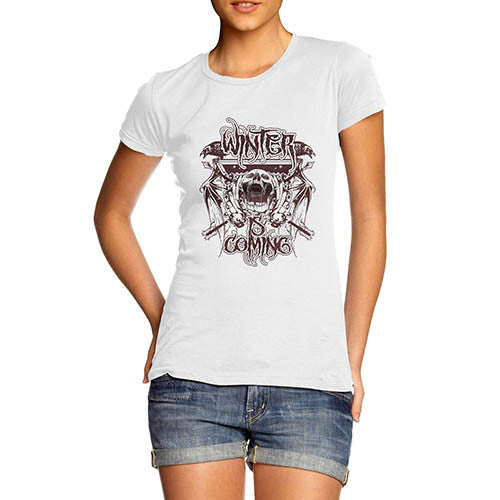 Womens Gothic Skull Distress Print Winter Is Coming T-Shirt