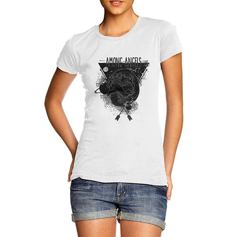 Womens Gothic Skull Graphic Among Angels T-Shirt