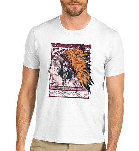 Mens Graphic Print American Red Indian T-Shirt