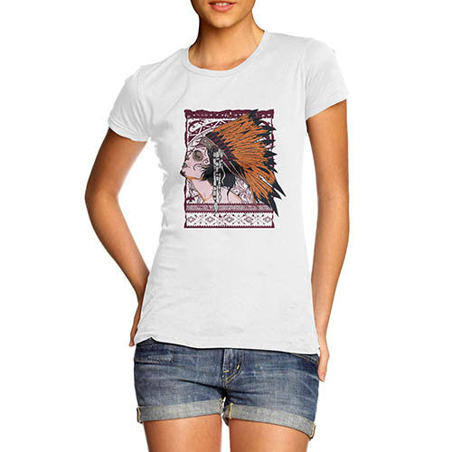 Womens Graphic Print American Red Indian T-Shirt