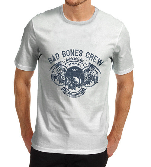 Mens Bad Bones Crewe Never Fade Away Skull T-Shirt