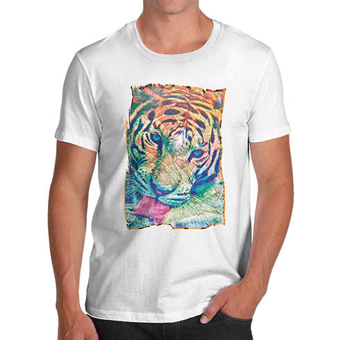 Mens Psychedelic Tiger Distress Print T-Shirt