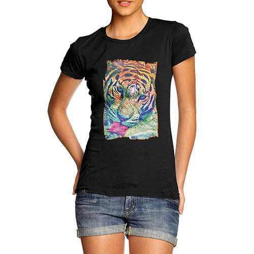 Womens Psychedelic Tiger Distress Print T-Shirt