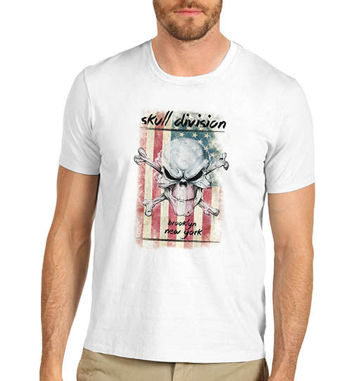 Mens American Flag Skull Division Distress T-Shirt