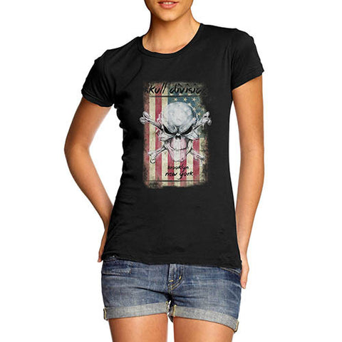 Womens American Flag Skull Division Distress T-Shirt