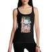 Womens American Flag Skull Division Distress Tank Top