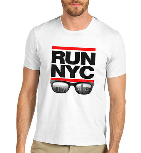 Mens Run NYC Glasses Hip Hop T-Shirt