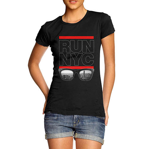 Womens Run NYC Glasses Hip Hop T-Shirt