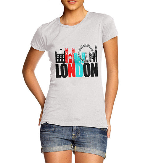 Womens London Famous Land Marks Printed T-Shirt