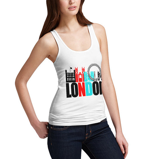 Womens London Famous Land Marks Printed Tank Top