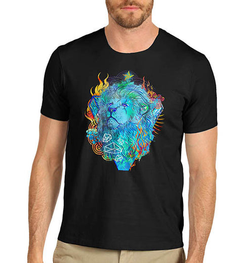 Mens Classic Lions Head Printed Graphic T-Shirt