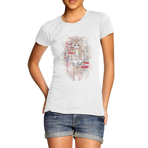 Womens Japanese art Print Inner Thoughts of a Girl T-Shirt