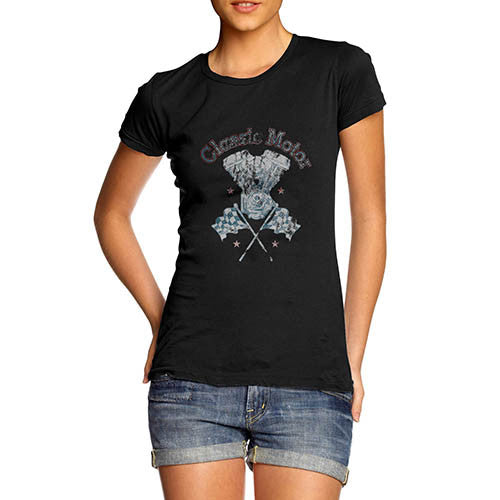 Womens Classic Motor Distress Print T-Shirt