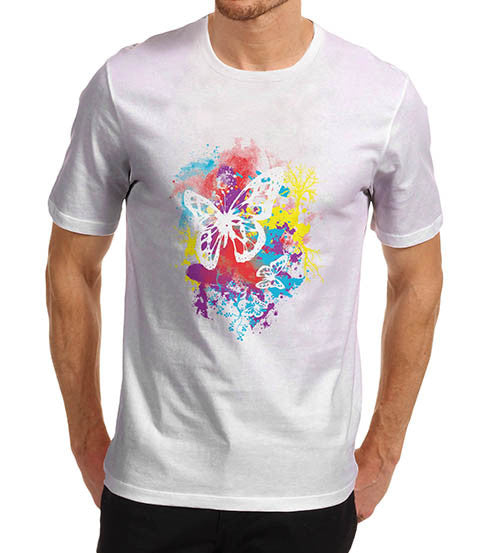 Mens Splash Of Colour Butterfly Graphic T-Shirt