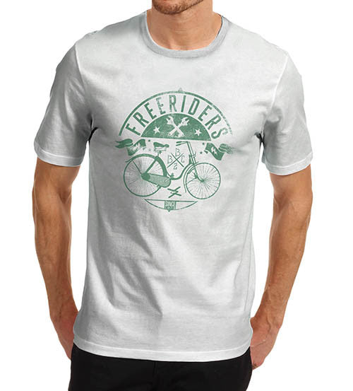 Mens Free Rider Green Bike Distress Print T-Shirt