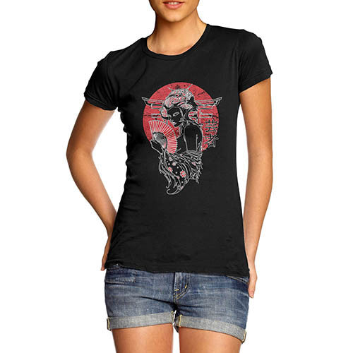 Womens Distress Japanese Art Print T-Shirt