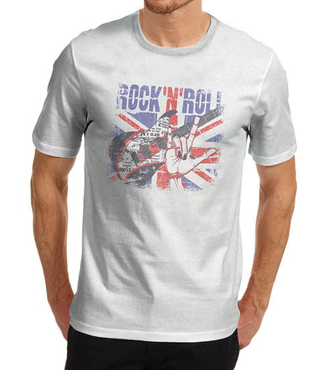 Mens Union Jack Rock N Roll Distress T-Shirt