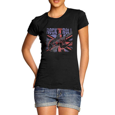 Womens Union Jack Rock N Roll Distress T-Shirt