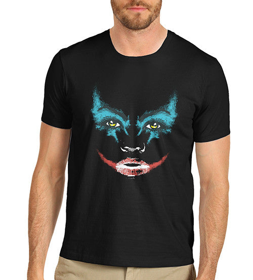 Mens Smeared Make Up Joker Face Print T-Shirt