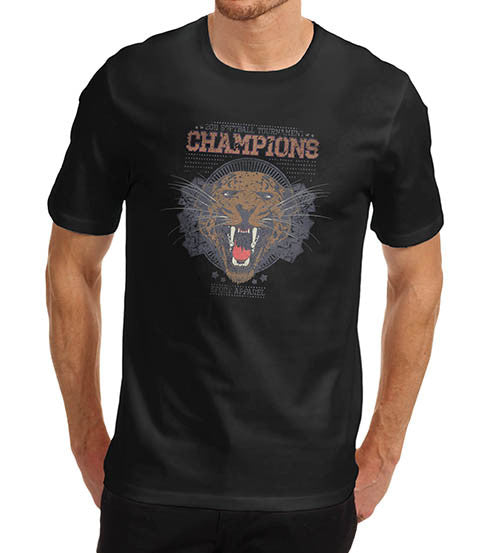 Mens Softball Champion Tiger Face Sports Print T-Shirt