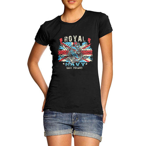 Womens Union Jack Royal Navy Distress Print T-Shirt