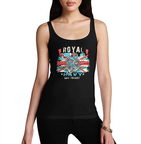 Womens Union Jack Royal Navy Distress Print Tank Top