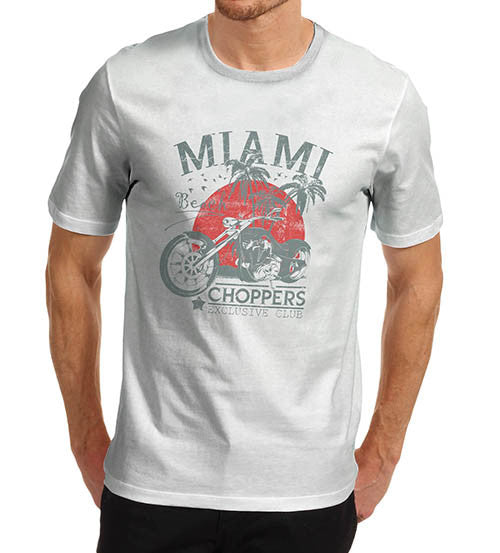 Mens Biker Distress Print Miami Beach Choppers T-Shirt